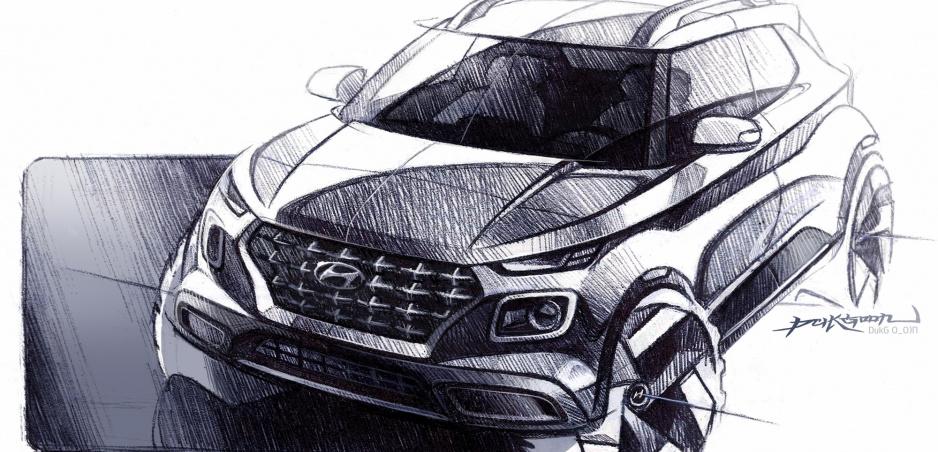 Nový crossover Hyundai Venue sa predvádza na prvých skicách